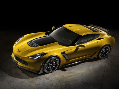 Top View Of Yellow And Black Sports Car