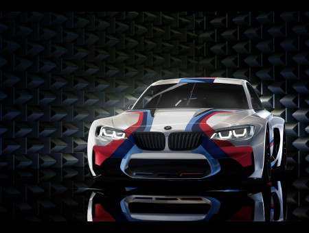 White Red Blue And Teal Stripe BMW M Series Car