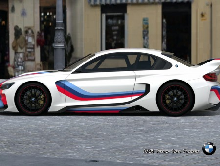White Blue And Red Stripe Bmw Sports Coupe Parked Outside During Daytime