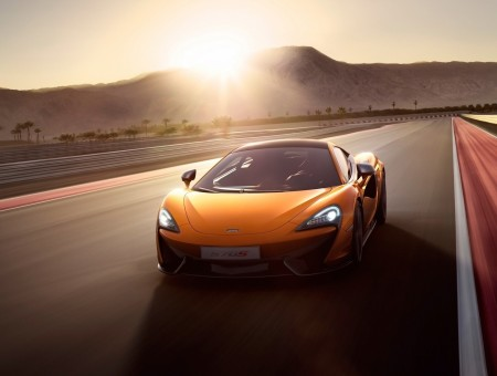 Orange Sports Car On Asphalt Road