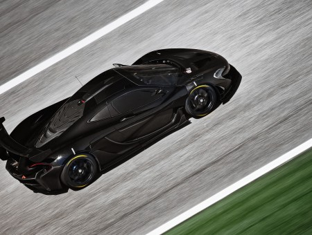 Black Sports Car On Black Asphalt Road