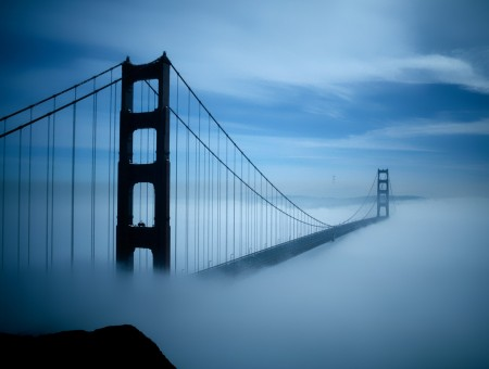 Golden State Bridge Covered In Fog During Daytime