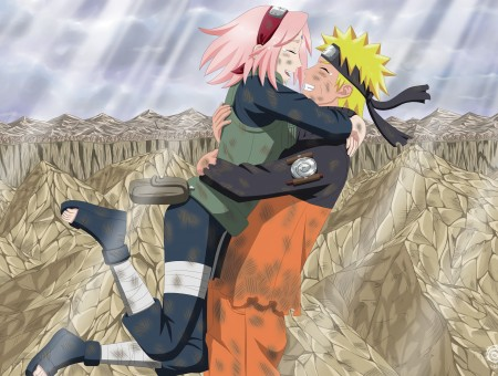 Naruto And Sakura Hugging