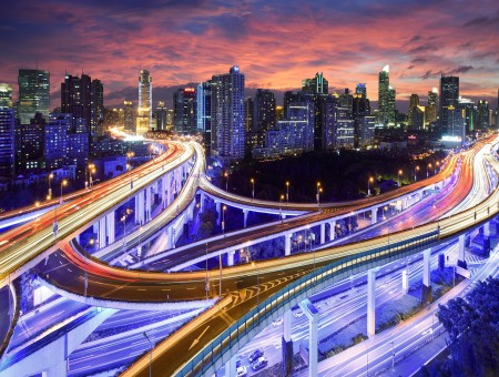 Cars On The Roads And Skyway In Time-lapse Photograph During Nighttime