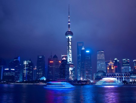 Oriental Pearl Tower Below Cloudy Sky During Nighttime