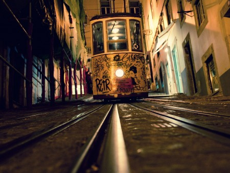 White Tram Car At Night