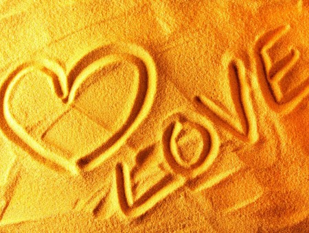 Heart And Love On Sand