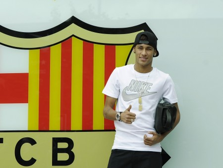 Man In White Nike Crew Neck T Shirt Showing Ok Sign Hand Gesture Beside Fcb Signage