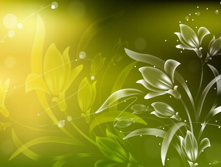 Green And White Floral Artwork
