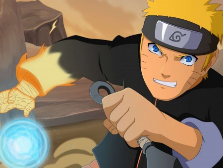 Naruto Uzumaki Holding Black Throwing Knife