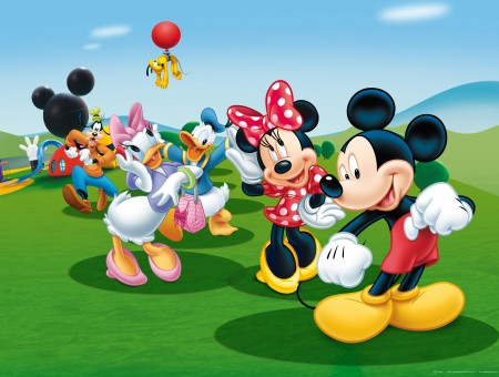 Mickey Minnie Donald Daisy And Goofy In A Field With Pluto In The Air Tied To A Red Balloon