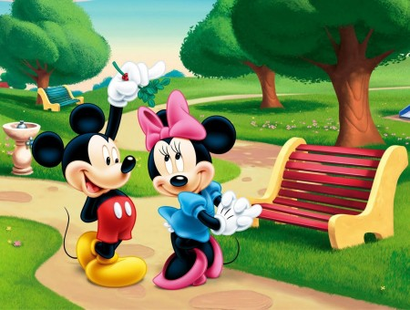 Mickey And Minnie Mouse In Park