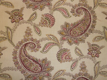 White And Green Paisley Textile