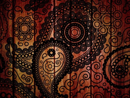 Brown And Black Paisley Wooden Decor
