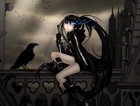Female Anime Character With Black Hair And Black Hoodie Sitting At The Railing