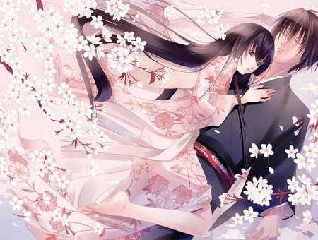 Black Haired Female Anime Character In Pink Kimono Hugging Black Haired Male Anime Character Surrounded By White Flowers