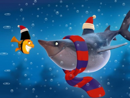 Gray Shark With Blue And Red Scarf Smiling On Yellow Fish