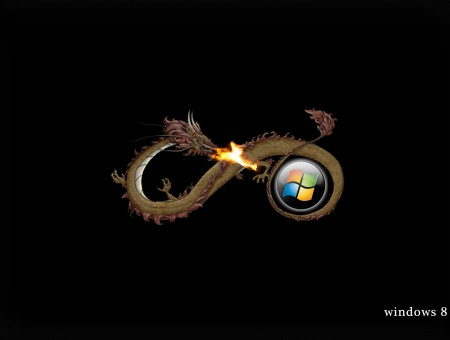 Brown And Red Dragon Blowing Fire On Windows Logo