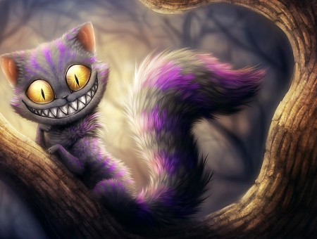 Gray And Purple Monster Cat On Brown Tree Branch Illustration