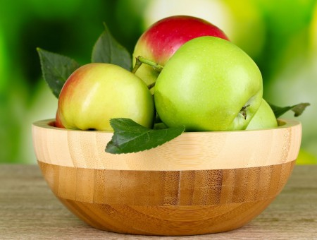Green And Red Apple Fruits In Brown Round Wooden Bowl