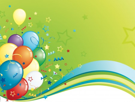 Party Balloons Green Background
