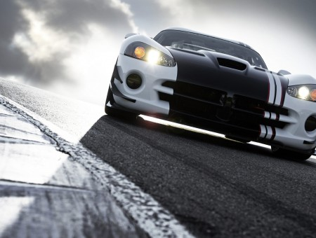 White And Black Dodge Viper On Track