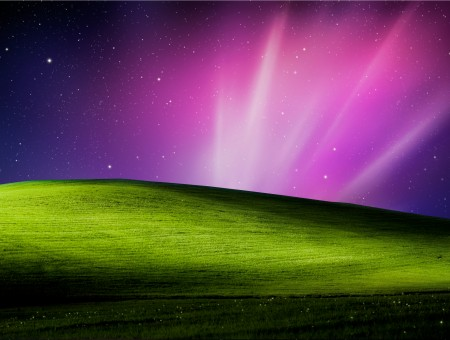 Black Pink And Purple Night With Light Rays Over Green Grass Field