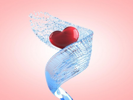 Red Heart And Water Spiral Graphics