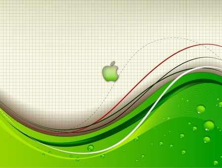 Green Apply With Wave Graphics