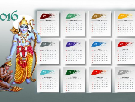 2016 Calendar With Buddha Illustration