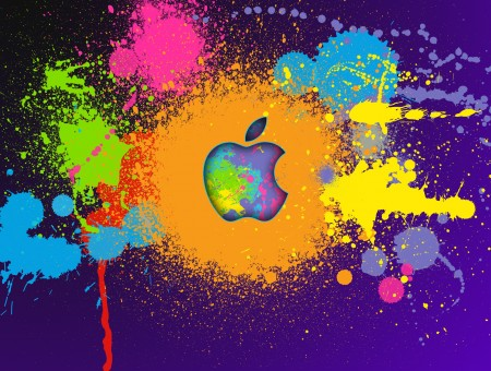 Blue Orange Green Multi Color Splash Paint Apple Wallpaper