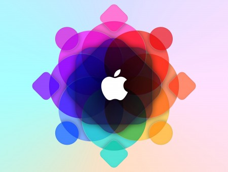 Red Orange And Yellow Multicolored Graphic With Apple Logo
