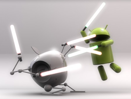 Android Fighting White Robot Using White Star Wars Sword