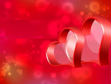 Red Two Hearts With Red Background Illustration
