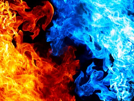 Blue And Yellow Flame Wall Paper