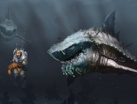Diver Holding Crab Beside Sharks Underwater Cartoon Illustration