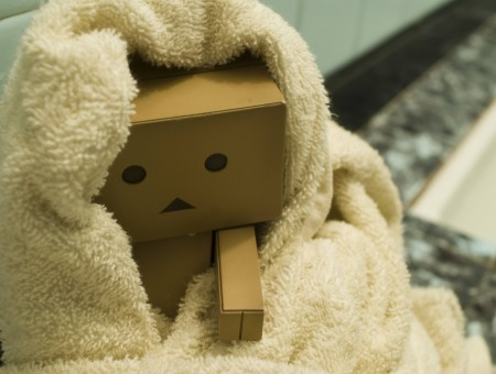 Beige Textile Cover On Brown Robot Made By Carboard Box