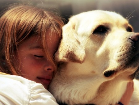 Girl In White Shirt Hugging White Short Coated Dog