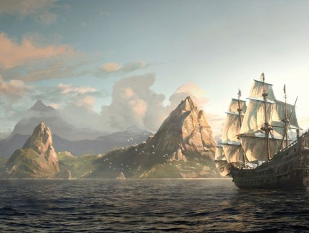 Grey galleon ship