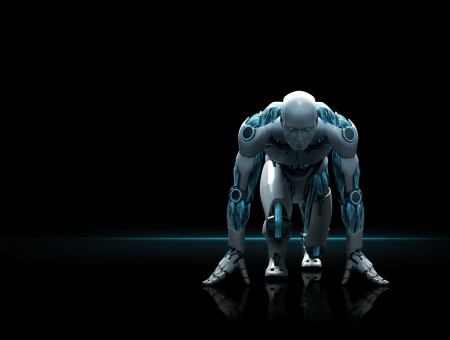 Gray and blue robot