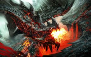 Desktop Wallpaper: Black and red dragon