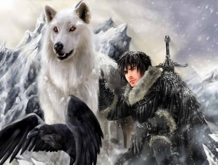 Man beside white wolf and raven illustration
