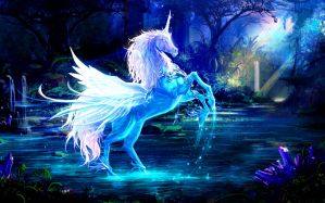 Desktop Wallpaper: White unicorn artwor...
