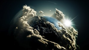 Desktop Wallpaper: Earth sun and clouds...