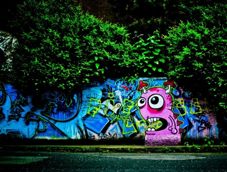 Pink blue and green graffiti
