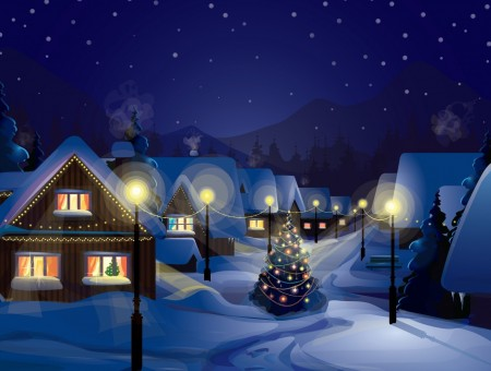 Village covered in snow illustration