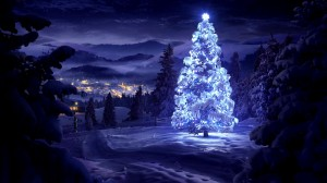 Desktop Wallpaper: White glowing tree p...