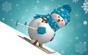 Desktop Wallpaper: Snowman skiing graph...
