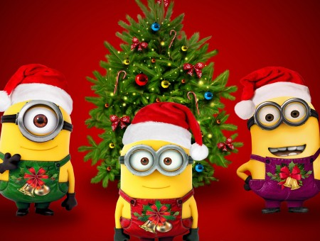 Minions christmas cartoon illustration