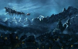 Desktop Wallpaper: Castle and Santa sle...